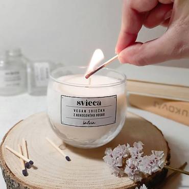 Prírodná sviečka z kokosového vosku - šalvia