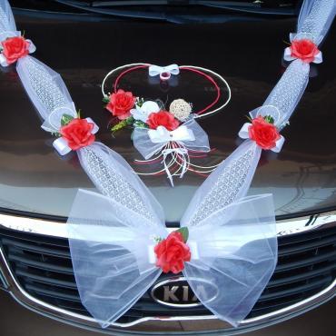 svadobná výzdoba na auto-červená