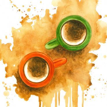 Stretnutie pri káve, akvarelový obraz