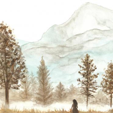 Dievča v krajine, maľba na akvarelovom papieri