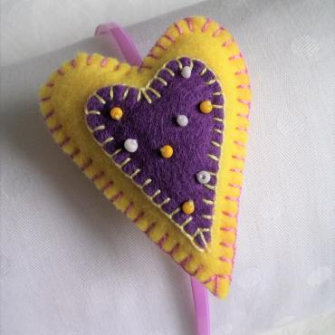 Srdiečková čelenka lila&žltá